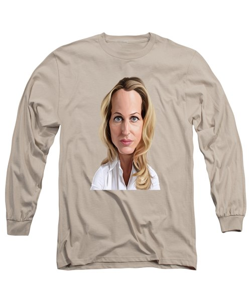 Celebrity Sunday - Gillian Anderson Long Sleeve T-Shirt by Rob Snow