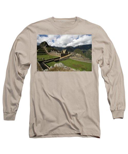 Central Plaza At Machu Picchu Long Sleeve T-Shirt by Aidan Moran