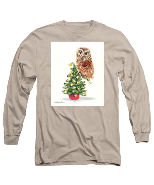 Christmas Owl Long Sleeve T-Shirt by LeAnne Sowa