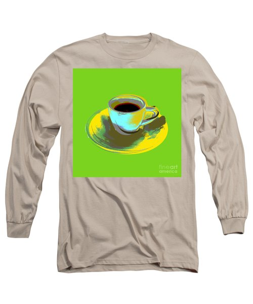 Long Sleeve T-Shirt featuring the digital art Coffee Cup Pop Art by Jean luc Comperat