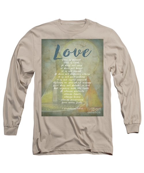 1 Corinthians 13 4-8 Love Is Patient Love Is Kind Wedding Verses. Great Gift For Men Or Home Decor. Long Sleeve T-Shirt