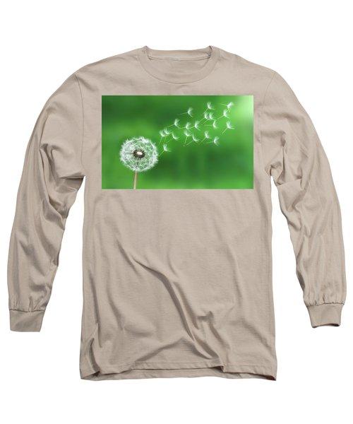 Dandelion Seeds Long Sleeve T-Shirt by Bess Hamiti