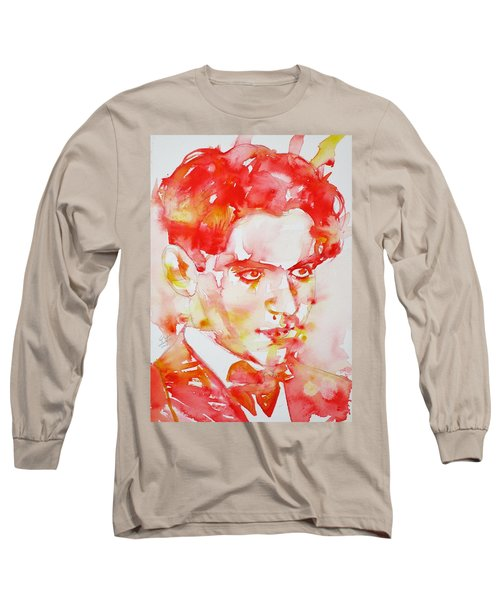 Long Sleeve T-Shirt featuring the painting Federico Garcia Lorca - Watercolor Portrait by Fabrizio Cassetta