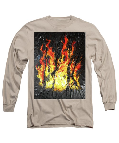 Long Sleeve T-Shirt featuring the mixed media Fire Too by Angela Stout