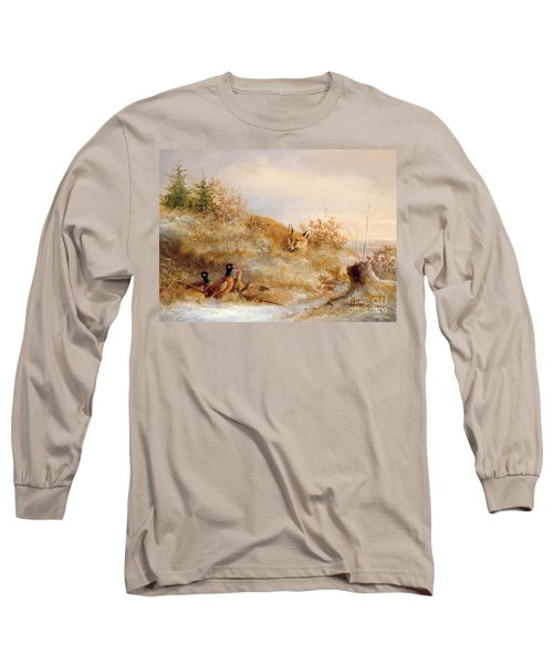 Fox And Pheasants In Winter Long Sleeve T-Shirt by Anonymous