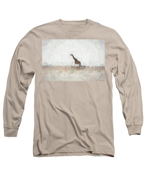 Long Sleeve T-Shirt featuring the digital art Giraffe Abstract by Ernie Echols