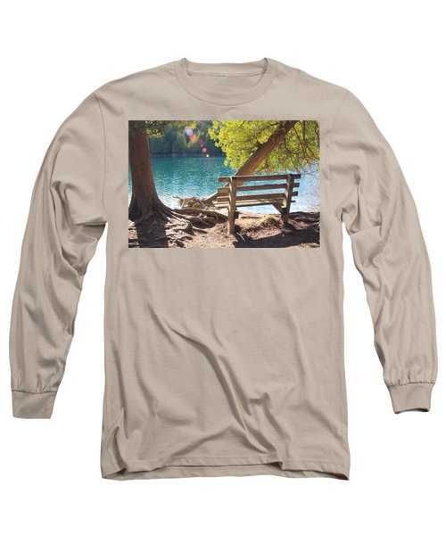 Green Lakes Long Sleeve T-Shirt by David Stasiak