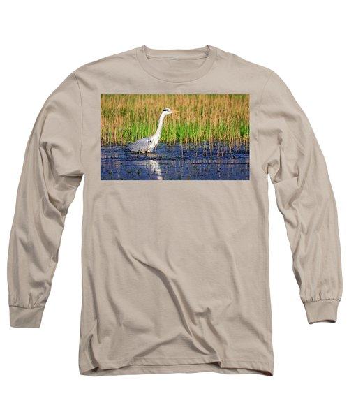 Grey Heron, Ardea Cinerea, In A Pond Long Sleeve T-Shirt by Elenarts - Elena Duvernay photo
