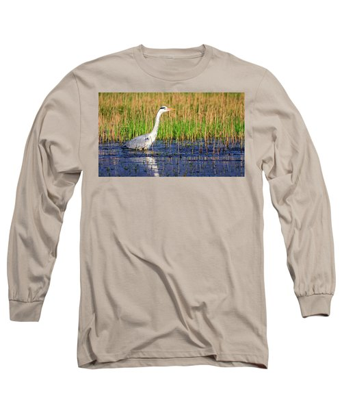 Grey Heron, Ardea Cinerea, In A Pond Long Sleeve T-Shirt