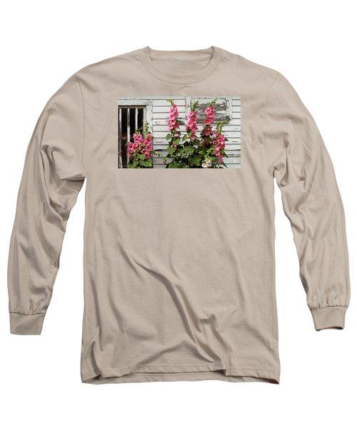Hollyhocks Long Sleeve T-Shirt by Bruce Morrison