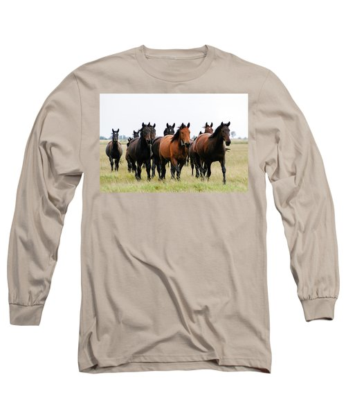 Horse Herd On The Hungarian Puszta Long Sleeve T-Shirt