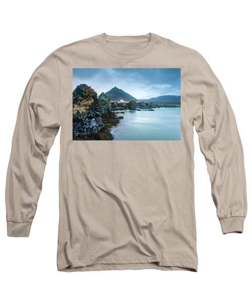 House On Ocean Cliff In Iceland Long Sleeve T-Shirt by Joe Belanger