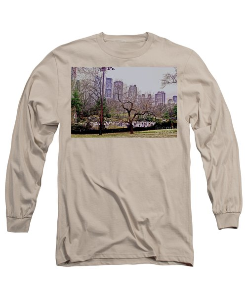 Ice Skaters On Wollman Rink Long Sleeve T-Shirt by Sandy Moulder