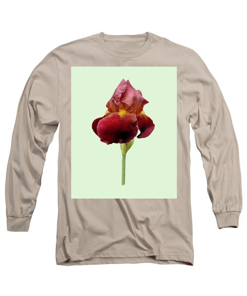 Iris Vitafire Green Background Long Sleeve T-Shirt by Paul Gulliver