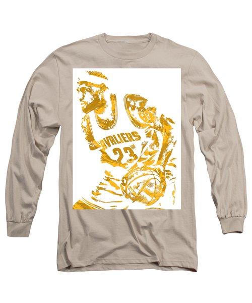 Lebron James Cleveland Cavaliers Pixel Art 7 Long Sleeve T-Shirt by Joe Hamilton