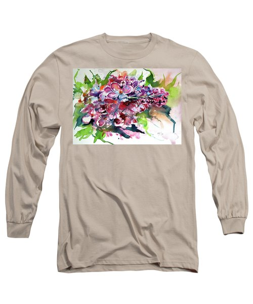 Lilac Long Sleeve T-Shirt by Kovacs Anna Brigitta