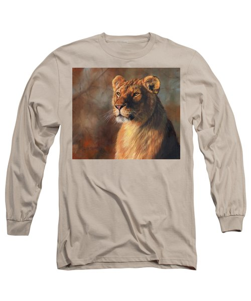 Lioness Portrait Long Sleeve T-Shirt by David Stribbling
