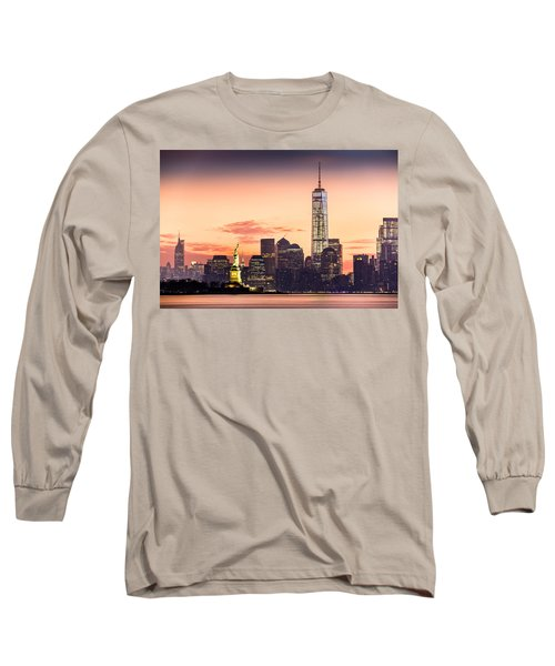 Lower Manhattan And The Statue Of Liberty At Sunrise Long Sleeve T-Shirt
