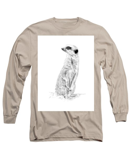 Long Sleeve T-Shirt featuring the mixed media Meerkat In Charge by Elizabeth Lock