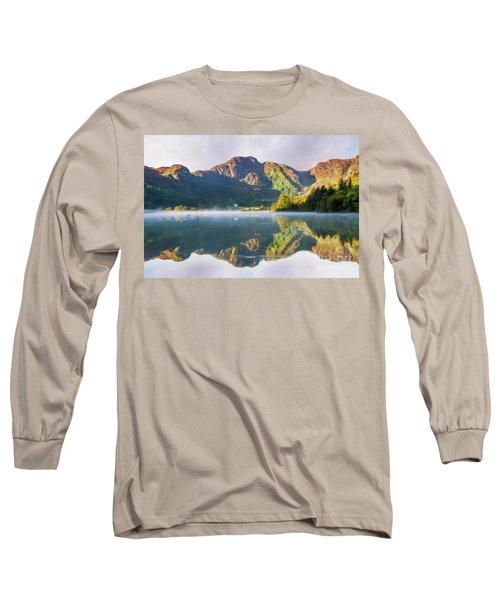 Misty Dawn Lake Long Sleeve T-Shirt by Ian Mitchell