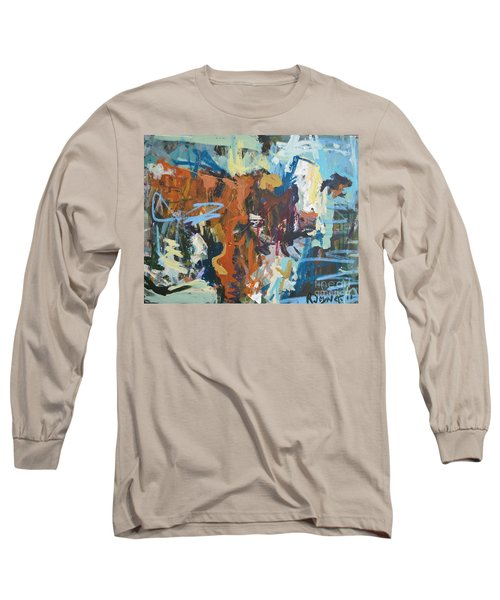 Mixed Media Cow Painting Long Sleeve T-Shirt