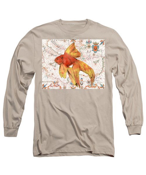 Long Sleeve T-Shirt featuring the painting Nautical Treasures-g by Jean Plout