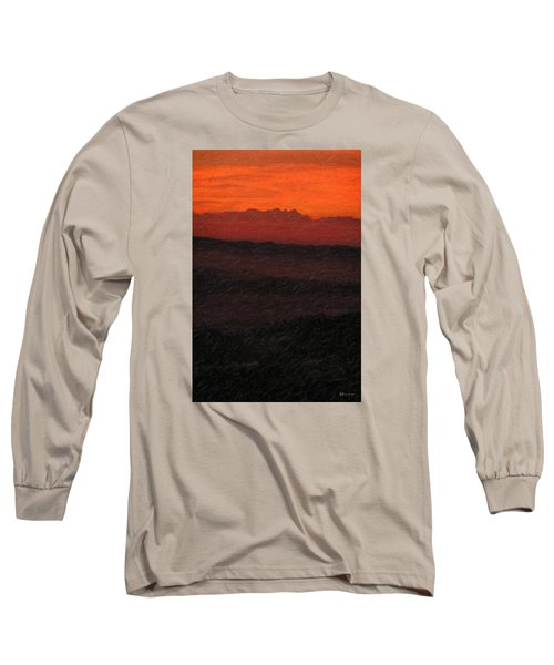Not Quite Rothko - Blood Red Skies Long Sleeve T-Shirt by Serge Averbukh