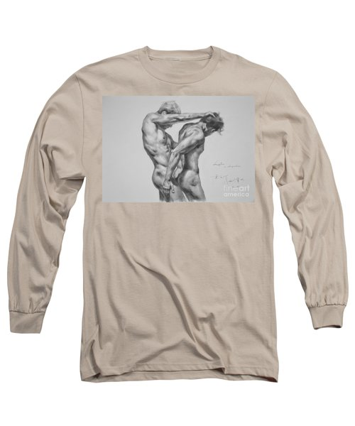 Original Drawing Sketch Charcoal Male Nude Gay Interest Man Art Pencil On Paper -0035 Long Sleeve T-Shirt by Hongtao     Huang