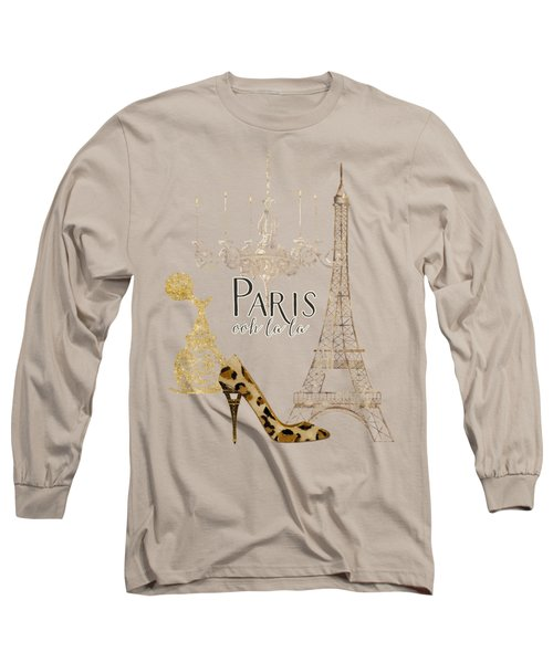 Paris - Ooh La La Fashion Eiffel Tower Chandelier Perfume Bottle Long Sleeve T-Shirt by Audrey Jeanne Roberts