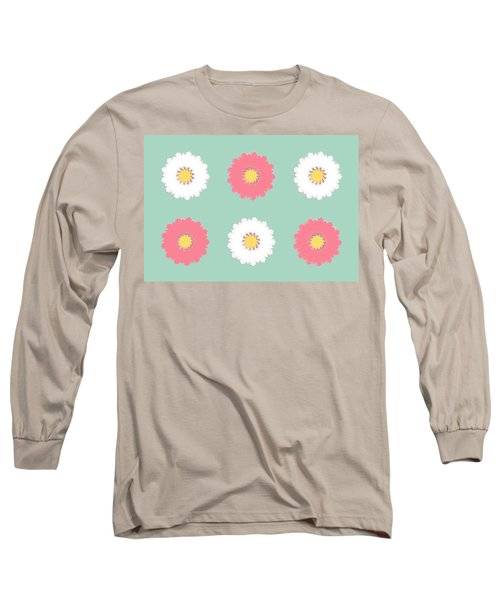 Long Sleeve T-Shirt featuring the digital art Pink And White by Elizabeth Lock