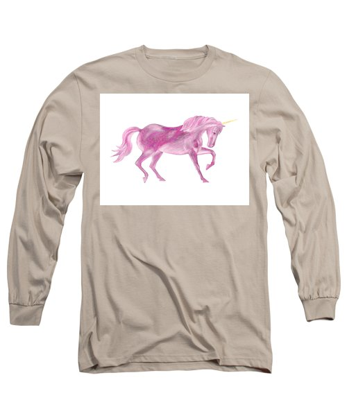 Long Sleeve T-Shirt featuring the mixed media Pink Unicorn by Elizabeth Lock