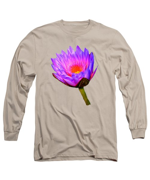 Pink Water Lily Long Sleeve T-Shirt by Pamela Walton