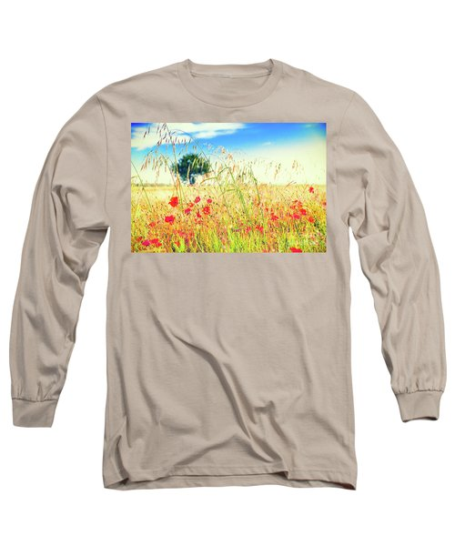 Long Sleeve T-Shirt featuring the photograph Poppies With Tree In The Distance by Silvia Ganora