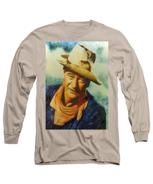 Portrait Of John Wayne Long Sleeve T-Shirt