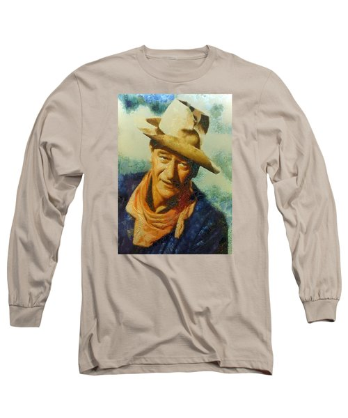 Portrait Of John Wayne Long Sleeve T-Shirt