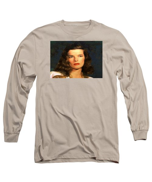 Portrait Of Katherine Hepburn Long Sleeve T-Shirt by Charmaine Zoe