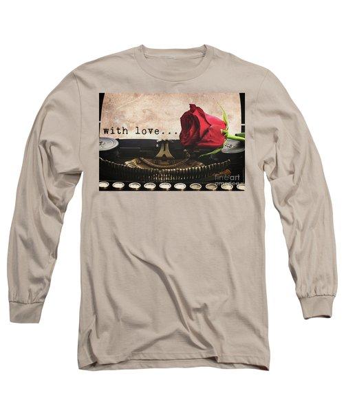 Red Rose On Typewriter Long Sleeve T-Shirt by Anastasy Yarmolovich