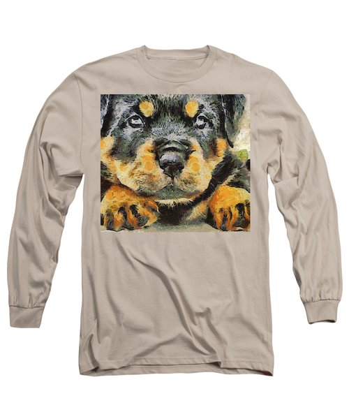 Rottweiler Puppy Portrait Long Sleeve T-Shirt