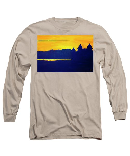 Long Sleeve T-Shirt featuring the painting Saltair Sunset by Jane Autry