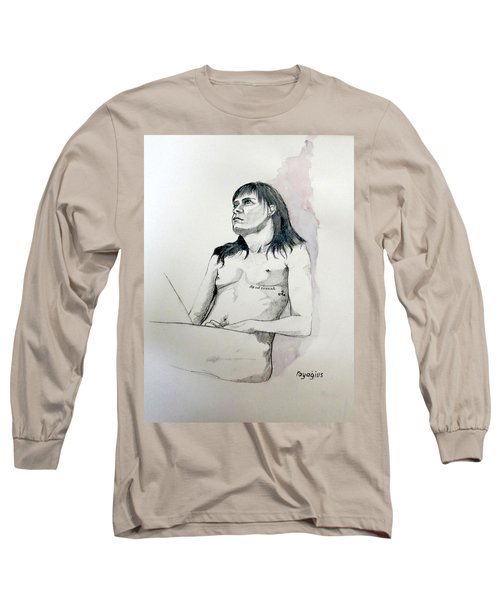 Sketch For White Amber Long Sleeve T-Shirt by Ray Agius