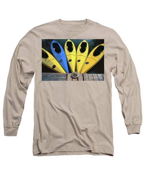 sports boat photography - Yellow Kayaks Long Sleeve T-Shirt