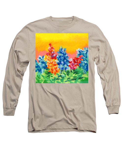 Long Sleeve T-Shirt featuring the painting Spring Wildflowers by Stephen Anderson