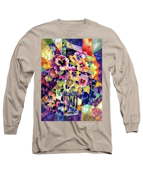 Stained Glass Pansies Long Sleeve T-Shirt