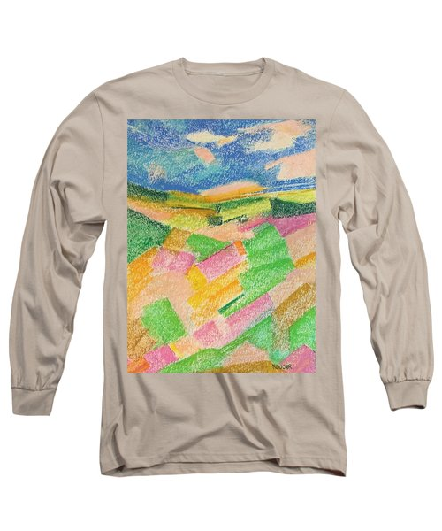 Long Sleeve T-Shirt featuring the pastel Summer Fields  by Norma Duch