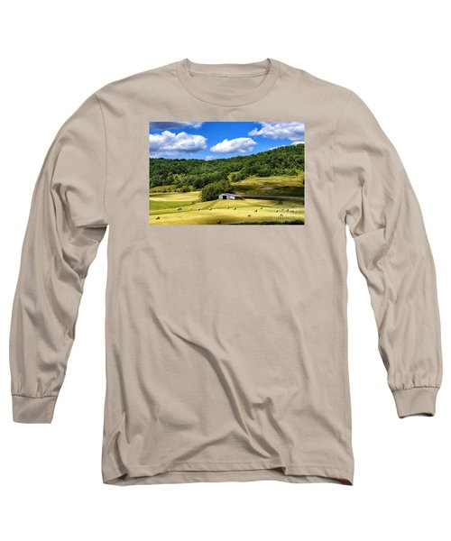 Summer Morning Hay Field Long Sleeve T-Shirt by Thomas R Fletcher