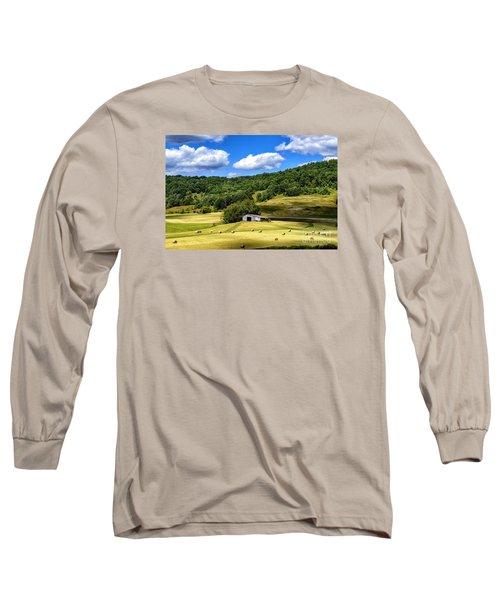 Summer Morning Hay Field Long Sleeve T-Shirt