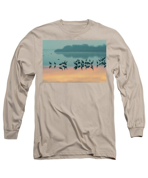 Sunrise Over The Hula Valley Long Sleeve T-Shirt by Dubi Roman