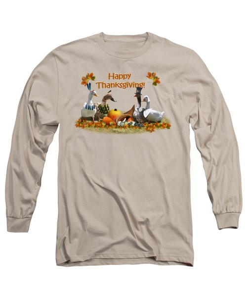 Thanksgiving Ducks Long Sleeve T-Shirt by Gravityx9 Designs