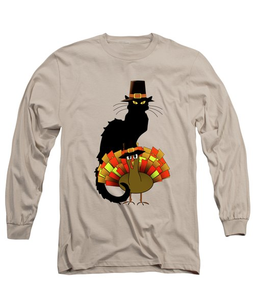 Thanksgiving Le Chat Noir With Turkey Pilgrim Long Sleeve T-Shirt