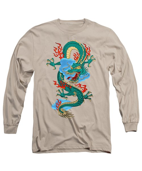 The Great Dragon Spirits - Turquoise Dragon On Rice Paper Long Sleeve T-Shirt